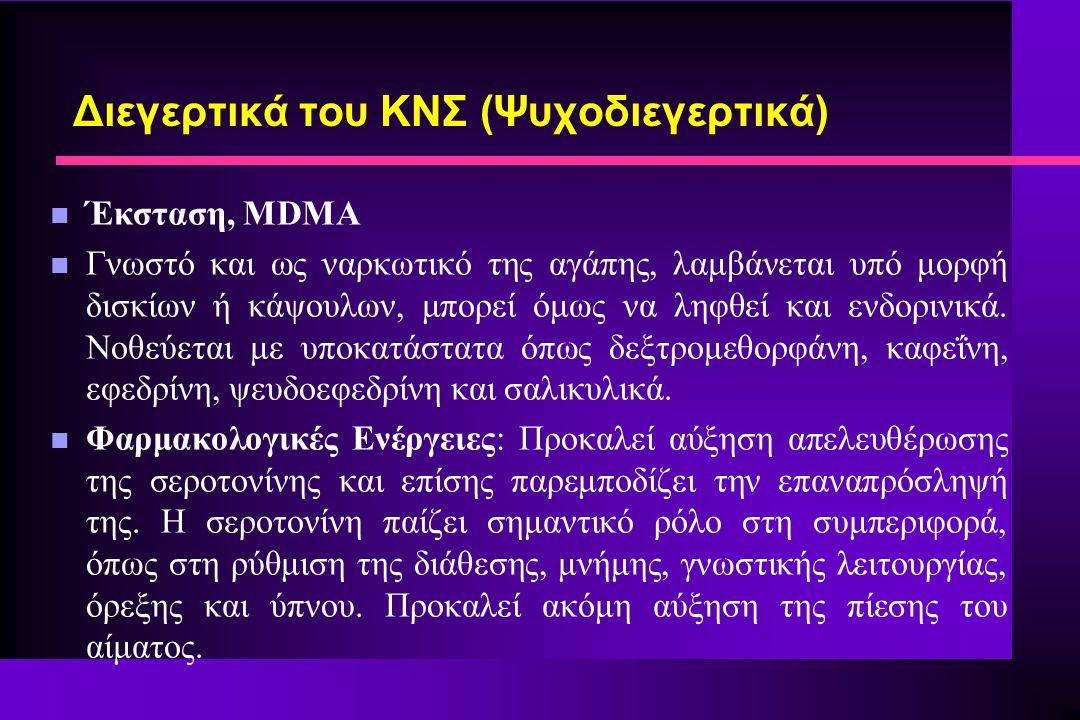 n Έκσταση, MDMA n Γνωστό και ως ναρκωτικό της αγάπης, λαμβάνεται υπό μορφή δισκίων ή κάψουλων, μπορεί όμως να ληφθεί και ενδορινικά. Νοθεύεται με υποκ