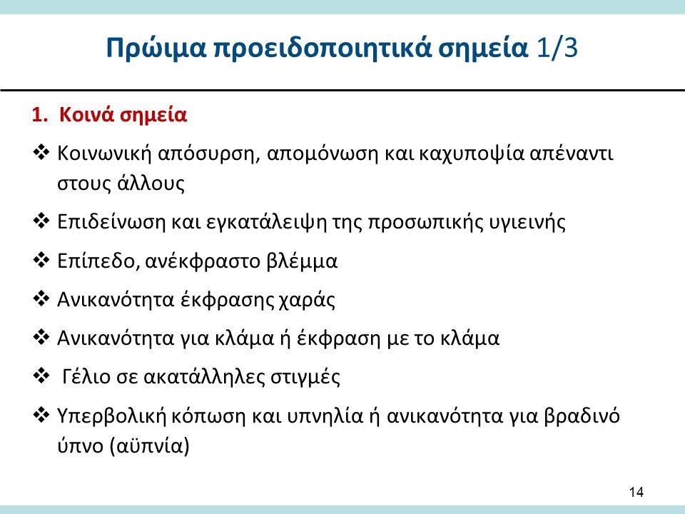 Πρώιμα προειδοποιητικά σημεία 1/3 1. Κοινά σημεία  Κοινωνική απόσυρση, απομόνωση και καχυποψία απέναντι στους άλλους  Επιδείνωση και εγκατάλειψη της