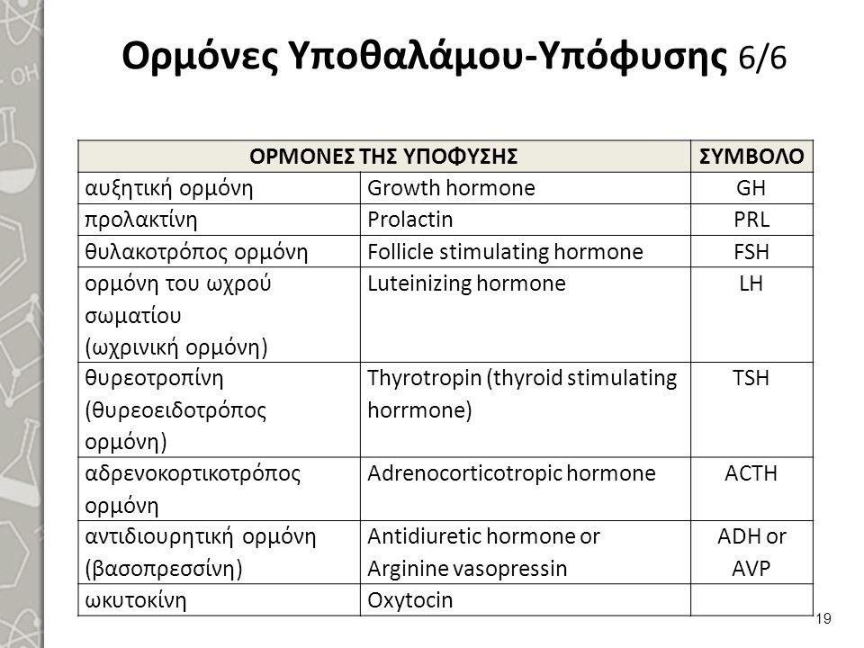 Ορμόνες Υποθαλάμου-Υπόφυσης 6/6 ΟΡΜΟΝΕΣ ΤΗΣ ΥΠΟΦΥΣΗΣΣΥΜΒΟΛΟ αυξητική ορμόνηGrowth hormoneGH προλακτίνηProlactinPRL θυλακοτρόπος ορμόνηFollicle stimula