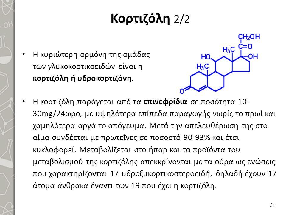 Κορτιζόλη 2/2 Η κυριώτερη ορμόνη της ομάδας των γλυκοκορτικοειδών είναι η κορτιζόλη ή υδροκορτιζόνη. 31 Η κορτιζόλη παράγεται από τα επινεφρίδια σε πο