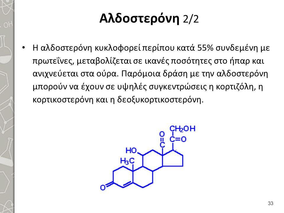 Αλδοστερόνη 2/2 Η αλδοστερόνη κυκλοφορεί περίπου κατά 55% συνδεμένη με πρωτεΐνες, μεταβολίζεται σε ικανές ποσότητες στο ήπαρ και ανιχνεύεται στα ούρα