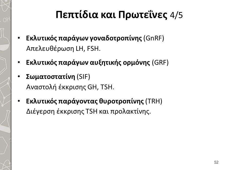 Πεπτίδια και Πρωτεΐνες 4/5 Εκλυτικός παράγων γοναδοτροπίνης (GnRF) Απελευθέρωση LH, FSH. Εκλυτικός παράγων αυξητικής ορμόνης (GRF) Σωματοστατίνη (SIF)