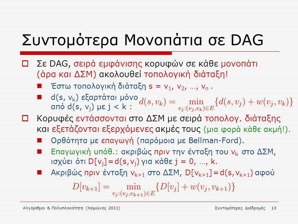 Αλγόριθμοι & Πολυπλοκότητα (Χειμώνας 2011)Συντομότερες Διαδρομές 13 Συντομότερα Μονοπάτια σε DAG  Σε DAG, σειρά εμφάνισης κορυφών σε κάθε μονοπάτι (ά