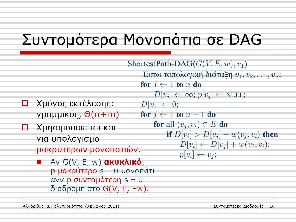 Αλγόριθμοι & Πολυπλοκότητα (Χειμώνας 2011)Συντομότερες Διαδρομές 16 Συντομότερα Μονοπάτια σε DAG  Χρόνος εκτέλεσης: γραμμικός, Θ(n + m)  Χρησιμοποιε