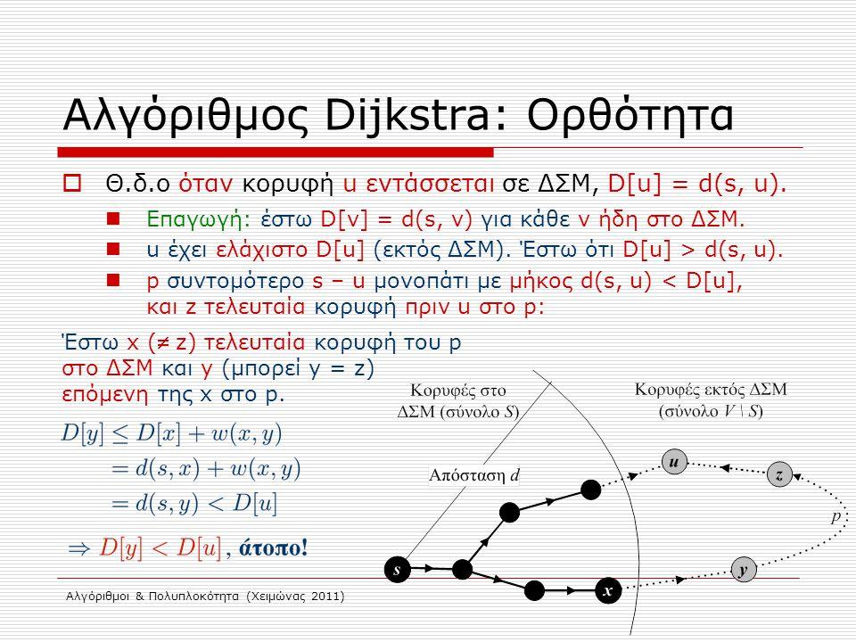 Αλγόριθμοι & Πολυπλοκότητα (Χειμώνας 2011) Αλγόριθμος Dijkstra: Ορθότητα  Θ.δ.ο όταν κορυφή u εντάσσεται σε ΔΣΜ, D[u] = d(s, u). Επαγωγή: έστω D[v] =