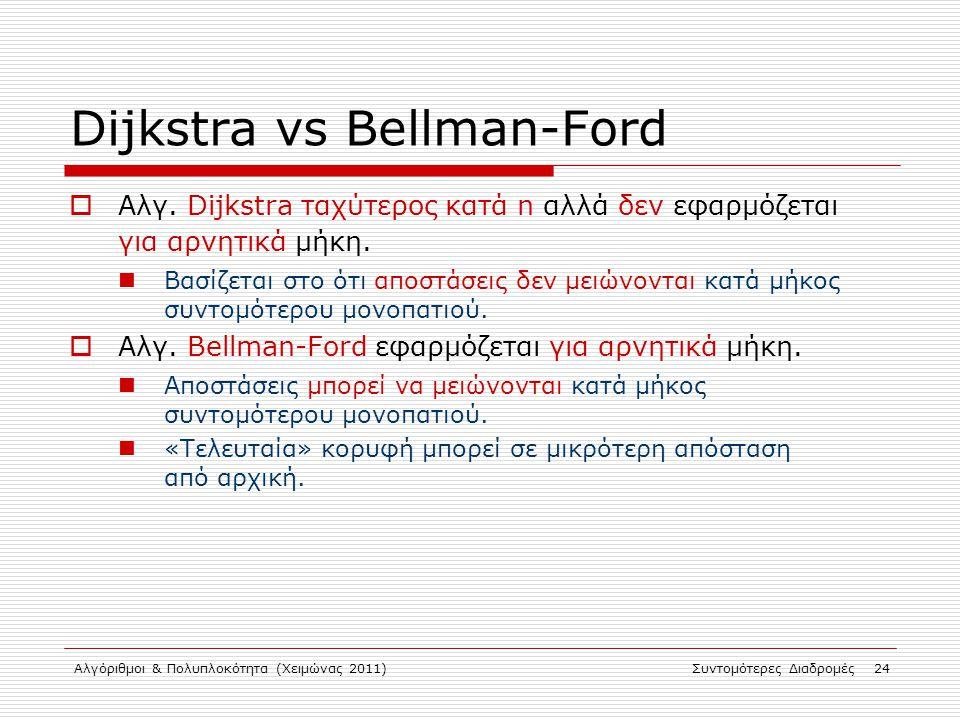 Αλγόριθμοι & Πολυπλοκότητα (Χειμώνας 2011)Συντομότερες Διαδρομές 24 Dijkstra vs Bellman-Ford  Αλγ. Dijkstra ταχύτερος κατά n αλλά δεν εφαρμόζεται για
