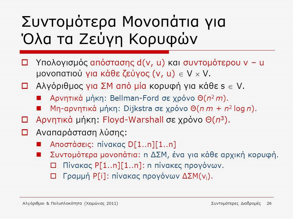 Αλγόριθμοι & Πολυπλοκότητα (Χειμώνας 2011)Συντομότερες Διαδρομές 26 Συντομότερα Μονοπάτια για Όλα τα Ζεύγη Κορυφών  Υπολογισμός απόστασης d(v, u) και