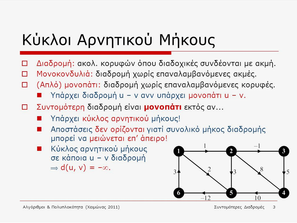 Αλγόριθμοι & Πολυπλοκότητα (Χειμώνας 2011)Συντομότερες Διαδρομές 3 Κύκλοι Αρνητικού Μήκους  Διαδρομή: ακολ. κορυφών όπου διαδοχικές συνδέονται με ακμ