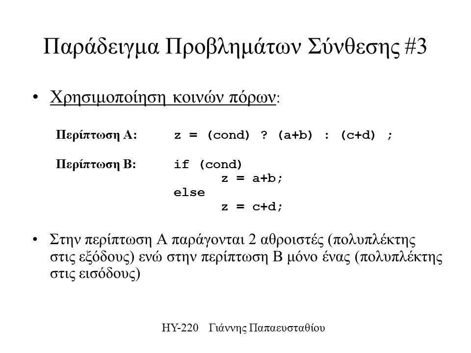 ΗΥ-220 Γιάννης Παπαευσταθίου Παράδειγμα Προβλημάτων Σύνθεσης #3 Χρησιμοποίηση κοινών πόρων : Περίπτωση Α: z = (cond) .