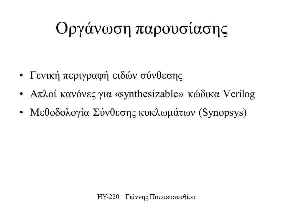ΗΥ-220 Γιάννης Παπαευσταθίου Οργάνωση παρουσίασης Γενική περιγραφή ειδών σύνθεσης Απλοί κανόνες για «synthesizable» κώδικα Verilog Μεθοδολογία Σύνθεσης κυκλωμάτων (Synopsys)