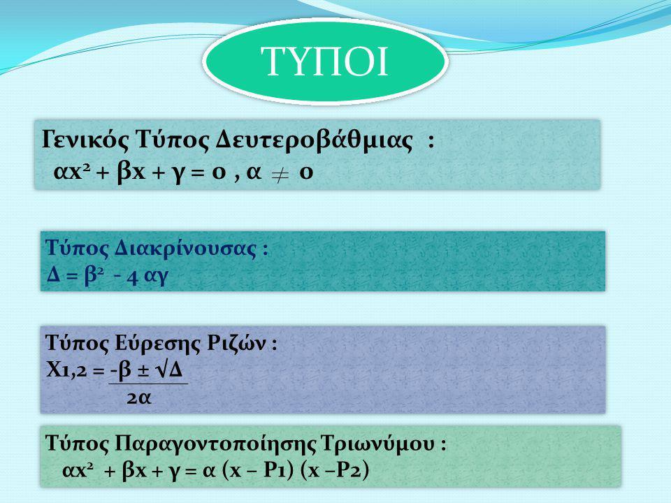 ΤΥΠΟΙ Γενικός Τύπος Δευτεροβάθμιας : αx 2 + βx + γ = 0, α 0 Γενικός Τύπος Δευτεροβάθμιας : αx 2 + βx + γ = 0, α 0 Τύπος Διακρίνουσας : Δ = β 2 - 4 αγ Τύπος Διακρίνουσας : Δ = β 2 - 4 αγ Τύπος Εύρεσης Ριζών : Χ1,2 = -β ± √Δ 2α Τύπος Εύρεσης Ριζών : Χ1,2 = -β ± √Δ 2α Τύπος Παραγοντοποίησης Τριωνύμου : αx 2 + βx + γ = α (x – Ρ1) (x –Ρ2) Τύπος Παραγοντοποίησης Τριωνύμου : αx 2 + βx + γ = α (x – Ρ1) (x –Ρ2)
