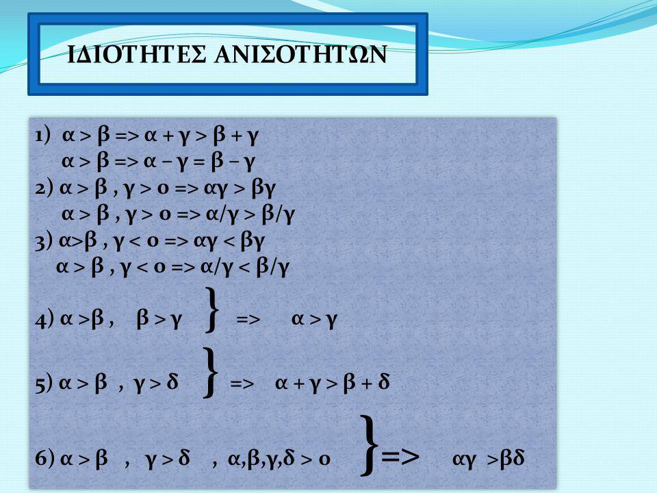 ΙΔΙΟΤΗΤΕΣ ΑΝΙΣΟΤΗΤΩΝ 1) α > β => α + γ > β + γ α > β => α – γ = β – γ 2) α > β, γ > 0 => αγ > βγ α > β, γ > 0 => α/γ > β/γ 3) α>β, γ αγ < βγ α > β, γ α/γ < β/γ 4) α >β, β > γ } => α > γ 5) α > β, γ > δ } => α + γ > β + δ 6)α > β, γ > δ, α,β,γ,δ > 0 } => αγ >βδ 1) α > β => α + γ > β + γ α > β => α – γ = β – γ 2) α > β, γ > 0 => αγ > βγ α > β, γ > 0 => α/γ > β/γ 3) α>β, γ αγ < βγ α > β, γ α/γ < β/γ 4) α >β, β > γ } => α > γ 5) α > β, γ > δ } => α + γ > β + δ 6)α > β, γ > δ, α,β,γ,δ > 0 } => αγ >βδ
