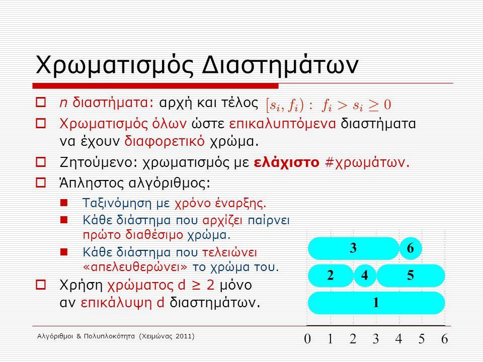 Αλγόριθμοι & Πολυπλοκότητα (Χειμώνας 2011) Χρωματισμός Διαστημάτων  n διαστήματα: αρχή και τέλος  Χρωματισμός όλων ώστε επικαλυπτόμενα διαστήματα να
