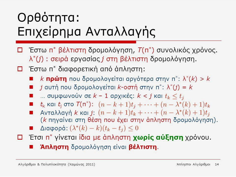 Αλγόριθμοι & Πολυπλοκότητα (Χειμώνας 2011)Άπληστοι Αλγόριθμοι 14 Ορθότητα: Επιχείρημα Ανταλλαγής  Έστω π * βέλτιστη δρομολόγηση, Τ(π * ) συνολικός χρ