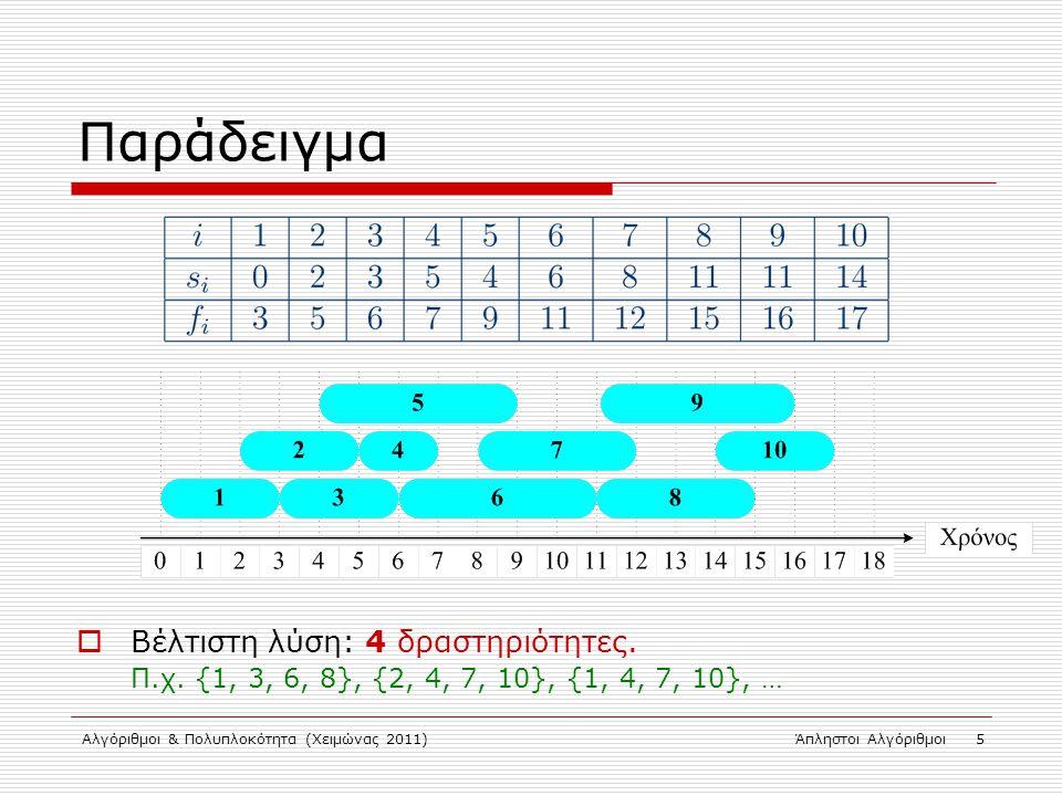 Αλγόριθμοι & Πολυπλοκότητα (Χειμώνας 2011)Άπληστοι Αλγόριθμοι 5 Παράδειγμα  Βέλτιστη λύση: 4 δραστηριότητες. Π.χ. {1, 3, 6, 8}, {2, 4, 7, 10}, {1, 4,
