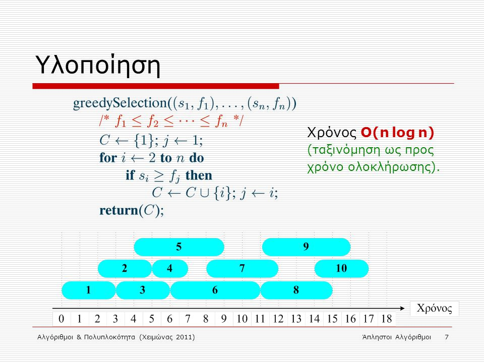Αλγόριθμοι & Πολυπλοκότητα (Χειμώνας 2011)Άπληστοι Αλγόριθμοι 7 Υλοποίηση Χρόνος Ο(n log n) (ταξινόμηση ως προς χρόνο ολοκλήρωσης).