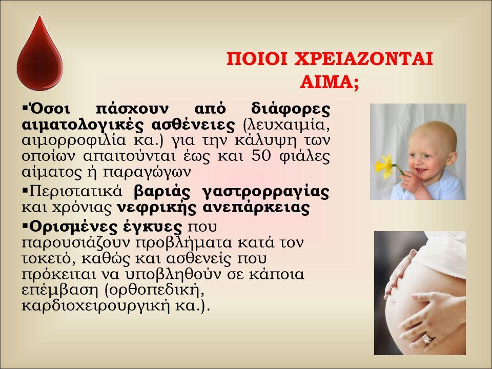 ΠΟΙΟΙ ΧΡΕΙΑΖΟΝΤΑΙ ΑΙΜΑ;  Όσοι πάσχουν από διάφορες αιματολογικές ασθένειες (λευχαιμία, αιμορροφιλία κα.) για την κάλυψη των οποίων απαιτούνται έως κα
