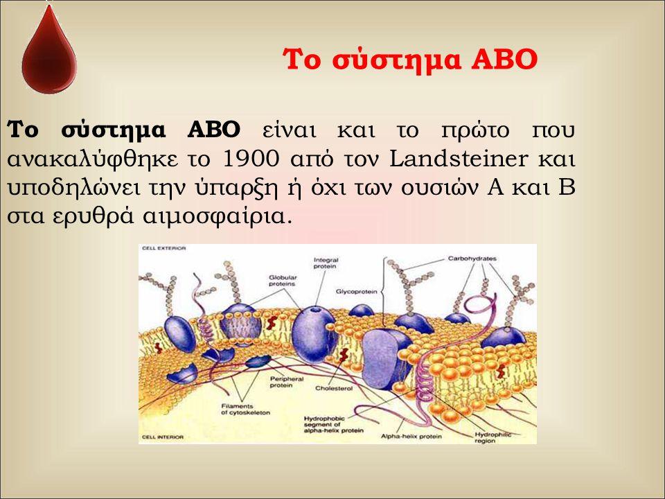 Το σύστημα ΑΒΟ Το σύστημα ΑΒΟ είναι και το πρώτο που ανακαλύφθηκε το 1900 από τον Landsteiner και υποδηλώνει την ύπαρξη ή όχι των ουσιών Α και Β στα ε