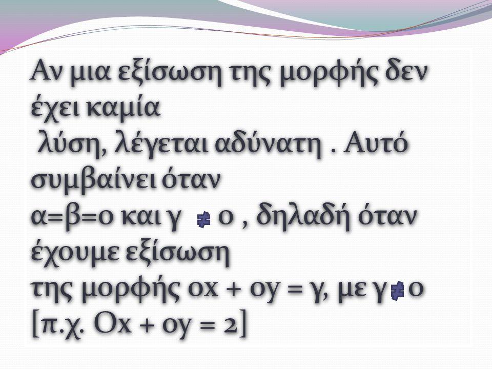 Αν μια εξίσωση της μορφής δεν έχει καμία λύση, λέγεται αδύνατη.
