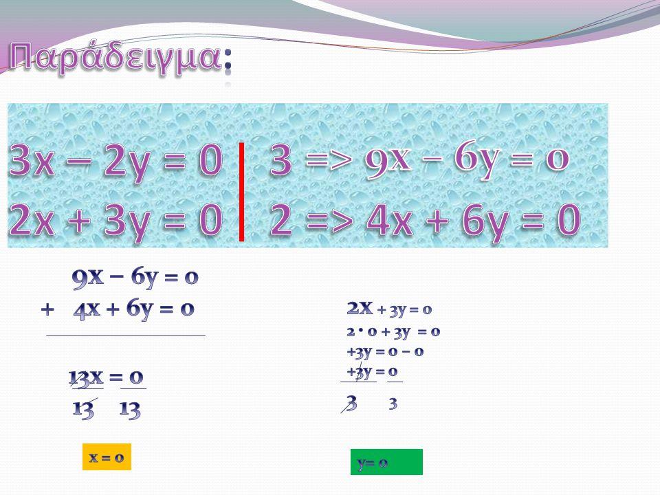 Αν έχουμε δύο ή περισσότερες εξισώσεις με δύο αγνώστους x και y, τότε μια κοινή τους λύση [ δηλαδή ένα ζεύγος αριθμών(κ, λ) τέτοιο, ώστε για x = κ και y = λ να επαληθεύονται όλες αυτές οι εξισώσεις] λέγεται λύση του συστήματος αυτών των εξισώσεων.