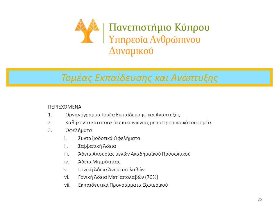 28 Τομέας Εκπαίδευσης και Ανάπτυξης ΠΕΡΙΕΧΟΜΕΝΑ 1.Οργανόγραμμα Τομέα Εκπαίδευσης και Ανάπτυξης 2.Καθήκοντα και στοιχεία επικοινωνίας με το Προσωπικό τ