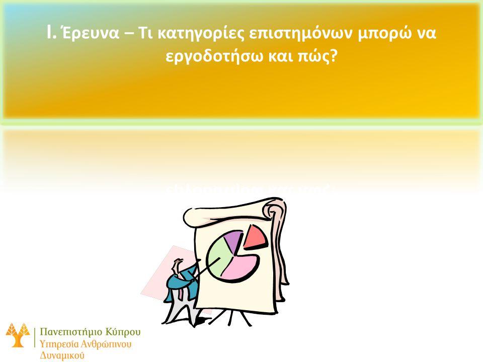 I.1.Κατηγορίες Ερευνητικού Προσωπικού/Βοηθητικού Διδακτικού Προσωπικού 8 Επισυνημμένα = Κανόνες για Ειδικούς Επιστήμονες(υπο αναθεώρηση), Κανόνες για Μεταπτυχιακούς Συνεργάτες, Μεταδιδακτορικοί Ερευνητές Ειδικοί Επιστήμονες Μεταπτυχιακοί Συνεργάτες Μεταδιδακτορικοί Ερευνητές Ειδικό Εκπαιδευτικό Προσωπικό Τίτλοι θέσεων όπως «νέος ερευνητής», «ερευνητής», «βοηθός ερευνητής» και «βοηθός ερευνητής-φοιτητής» δεν υφίστανται πλέον : βρίσκονται στη διαδικασία ενσωμάτωσής τους κάτω από τη θέση «Ειδικός Επιστήμονας»
