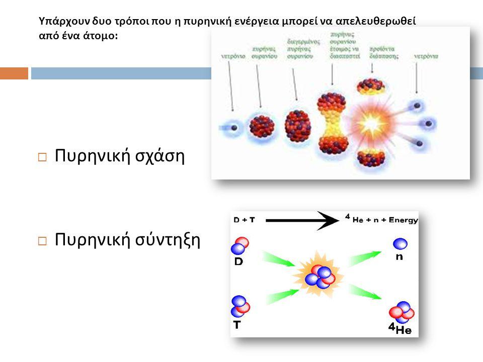 Υπάρχουν δυο τρόποι που η πυρηνική ενέργεια μπορεί να απελευθερωθεί από ένα άτομο:  Πυρηνική σχάση  Πυρηνική σύντηξη