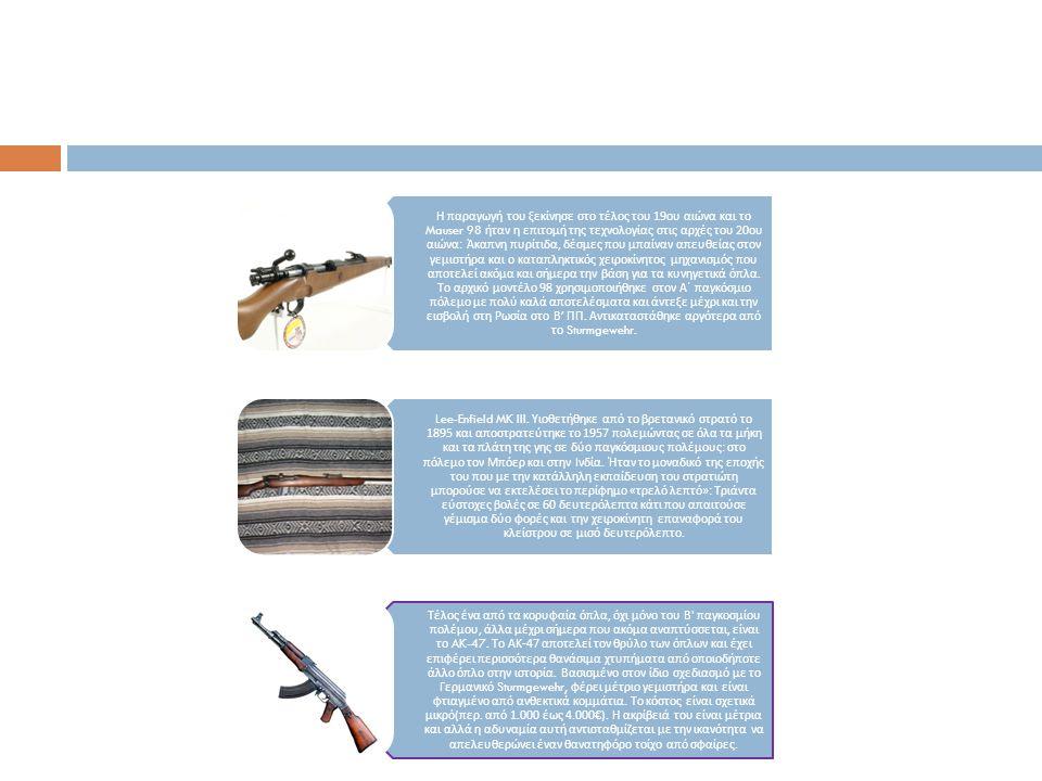 Η π αραγωγή του ξεκίνησε στο τέλος του 19 ου αιώνα και το Mauser 98 ήταν η ε π ιτομή της τεχνολογίας στις αρχές του 20 ου αιώνα : Άκα π νη π υρίτιδα,