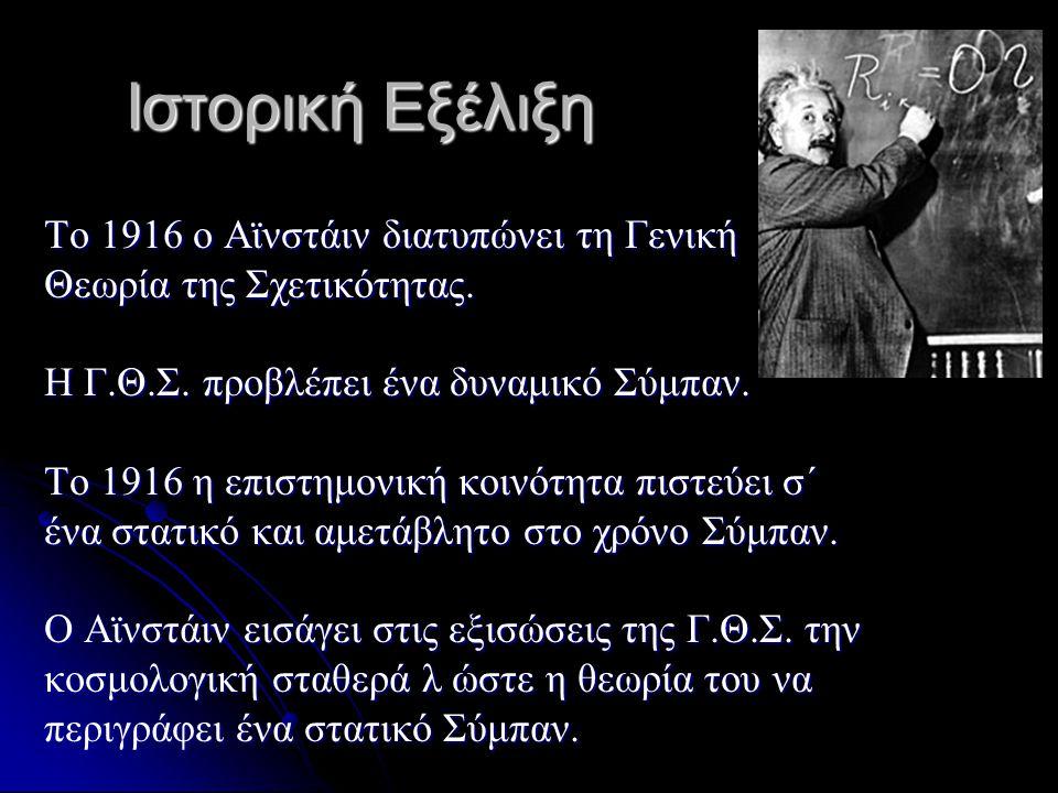 Το 1916 ο Αϊνστάιν διατυπώνει τη Γενική Θεωρία της Σχετικότητας. Η Γ.Θ.Σ. προβλέπει ένα δυναμικό Σύμπαν. Το 1916 η επιστημονική κοινότητα πιστεύει σ΄