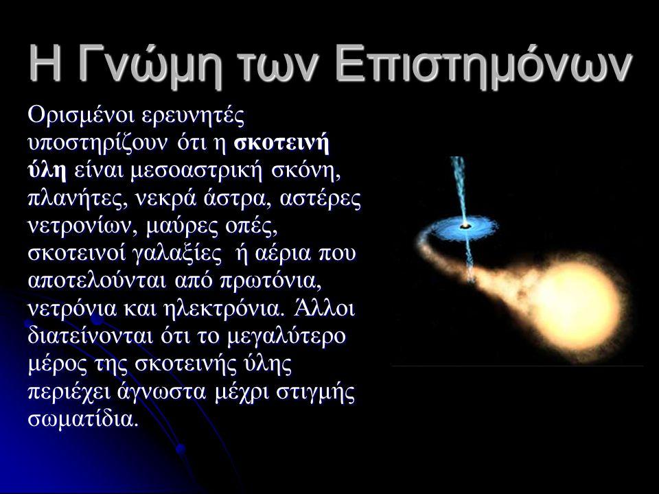 ΝετρίναWIMPsMACHOs Μαύρες Τρύπες Σωματίδια χωρίς φορτίο που αλληλεπιδρούν ασθενικά με την ύλη Ασθενώς αλληλεπιδρόντα σωματίδια Λευκοί νάνοι, καφέ νάνοι, πλανήτες Αντικείμενα με ισχυρό βαρυτικό πεδίο Υπάρχουν σε μεγάλη αφθονία Προβλέπονται από τη θεωρία Η πιο απλή θεωρία Προβλέπονται από τη ΓΘΣ Έχουν πολύ μικρή μάζα Δεν έχουν παρατηρηθεί ακόμη Απαιτείται τεράστιος αριθμός