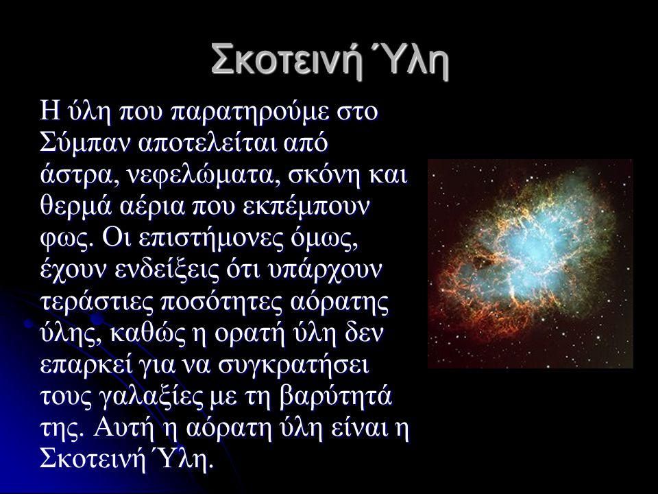 Σκοτεινή Ύλη Η ύλη που παρατηρούμε στο Σύμπαν αποτελείται από άστρα, νεφελώματα, σκόνη και θερμά αέρια που εκπέμπουν φως. Οι επιστήμονες όμως, έχουν ε