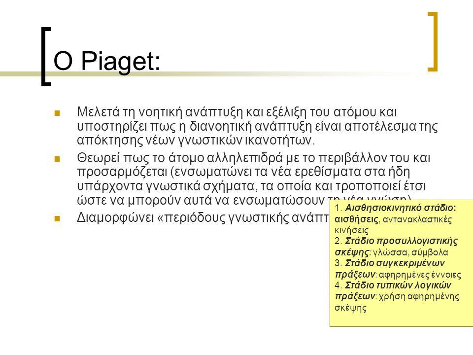 Ο Piaget: Μελετά τη νοητική ανάπτυξη και εξέλιξη του ατόμου και υποστηρίζει πως η διανοητική ανάπτυξη είναι αποτέλεσμα της απόκτησης νέων γνωστικών ικανοτήτων.
