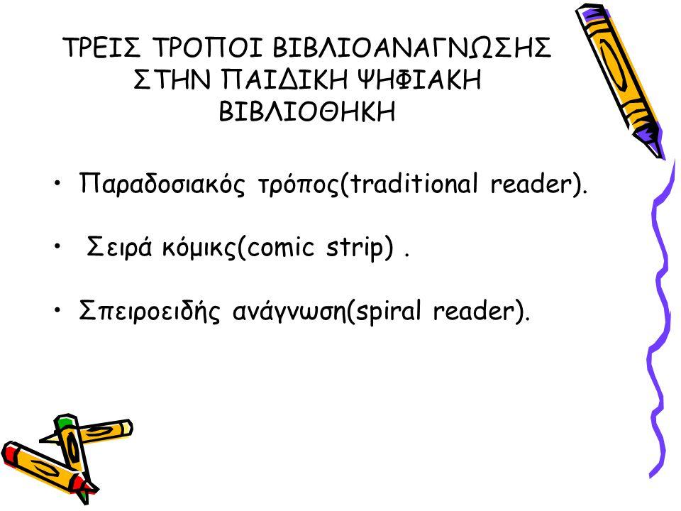 ΤΡΕΙΣ ΤΡΟΠΟΙ ΒΙΒΛΙΟΑΝΑΓΝΩΣΗΣ ΣΤΗΝ ΠΑΙΔΙΚΗ ΨΗΦΙΑΚΗ ΒΙΒΛΙΟΘΗΚΗ Παραδοσιακός τρόπος(traditional reader). Σειρά κόμικς(comic strip). Σπειροειδής ανάγνωση(