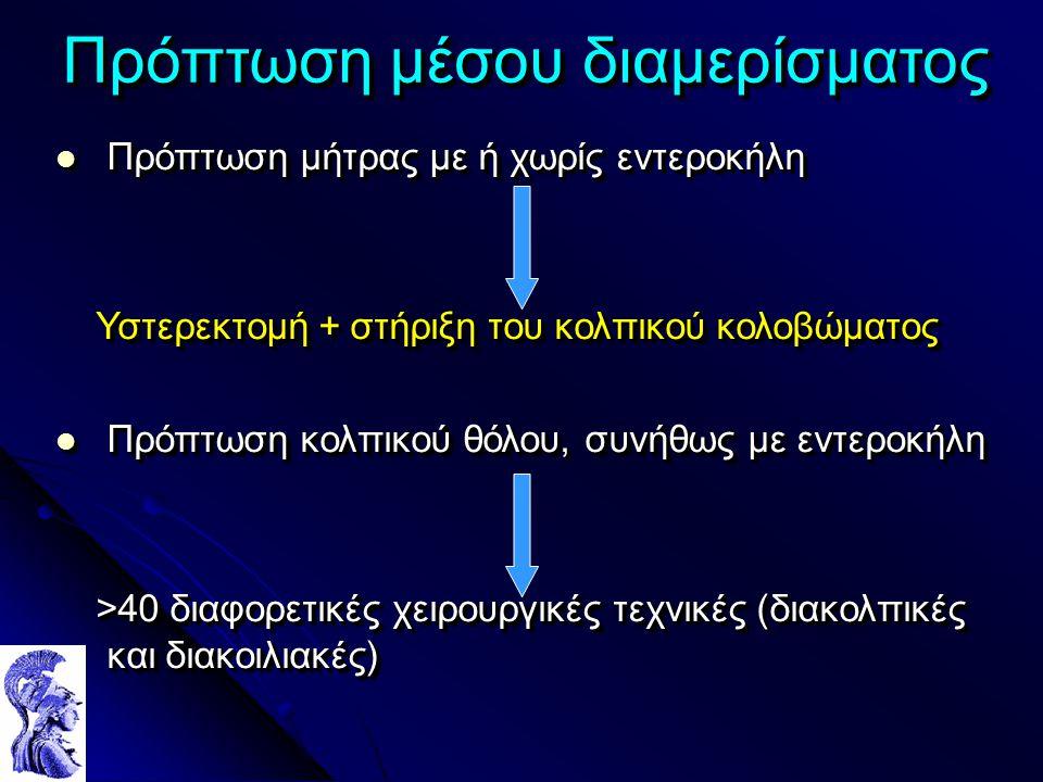 Πρόπτωση μέσου διαμερίσματος Πρόπτωση μήτρας με ή χωρίς εντεροκήλη Πρόπτωση μήτρας με ή χωρίς εντεροκήλη Υστερεκτομή + στήριξη του κολπικού κολοβώματο