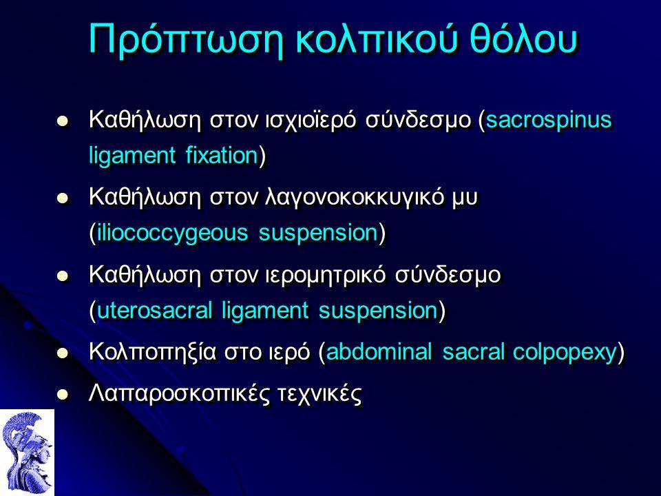 Πρόπτωση κολπικού θόλου Καθήλωση στον ισχιοϊερό σύνδεσμο (sacrospinus ligament fixation) Καθήλωση στον ισχιοϊερό σύνδεσμο (sacrospinus ligament fixation) Καθήλωση στον λαγονοκοκκυγικό μυ (iliococcygeous suspension) Καθήλωση στον λαγονοκοκκυγικό μυ (iliococcygeous suspension) Καθήλωση στον ιερομητρικό σύνδεσμο (uterosacral ligament suspension) Καθήλωση στον ιερομητρικό σύνδεσμο (uterosacral ligament suspension) Κολποπηξία στο ιερό (abdominal sacral colpopexy) Κολποπηξία στο ιερό (abdominal sacral colpopexy) Λαπαροσκοπικές τεχνικές Λαπαροσκοπικές τεχνικές Καθήλωση στον ισχιοϊερό σύνδεσμο (sacrospinus ligament fixation) Καθήλωση στον ισχιοϊερό σύνδεσμο (sacrospinus ligament fixation) Καθήλωση στον λαγονοκοκκυγικό μυ (iliococcygeous suspension) Καθήλωση στον λαγονοκοκκυγικό μυ (iliococcygeous suspension) Καθήλωση στον ιερομητρικό σύνδεσμο (uterosacral ligament suspension) Καθήλωση στον ιερομητρικό σύνδεσμο (uterosacral ligament suspension) Κολποπηξία στο ιερό (abdominal sacral colpopexy) Κολποπηξία στο ιερό (abdominal sacral colpopexy) Λαπαροσκοπικές τεχνικές Λαπαροσκοπικές τεχνικές