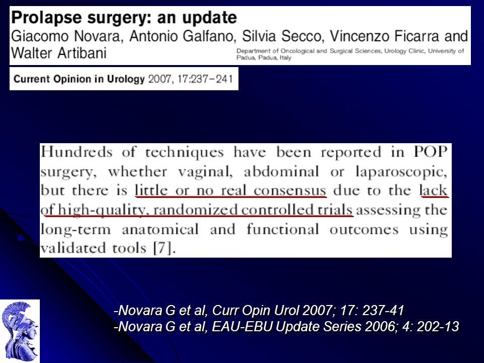 -Novara G et al, Curr Opin Urol 2007; 17: 237-41 -Novara G et al, EAU-EBU Update Series 2006; 4: 202-13 -Novara G et al, Curr Opin Urol 2007; 17: 237-