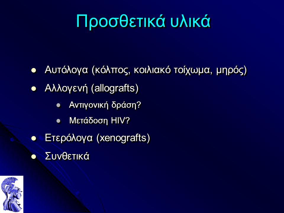 Προσθετικά υλικά Αυτόλογα (κόλπος, κοιλιακό τοίχωμα, μηρός) Αυτόλογα (κόλπος, κοιλιακό τοίχωμα, μηρός) Αλλογενή (allografts) Αλλογενή (allografts) Αντιγονική δράση.