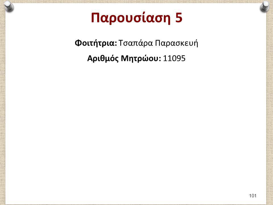 Παρουσίαση 5 Φοιτήτρια: Τσαπάρα Παρασκευή Αριθμός Μητρώου: 11095 101