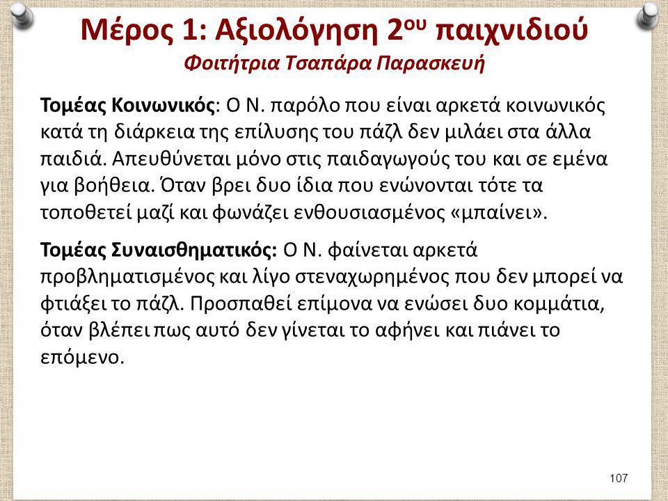 Μέρος 1: Αξιολόγηση 2 ου παιχνιδιού Φοιτήτρια Τσαπάρα Παρασκευή Τομέας Κοινωνικός: Ο Ν. παρόλο που είναι αρκετά κοινωνικός κατά τη διάρκεια της επίλυσ