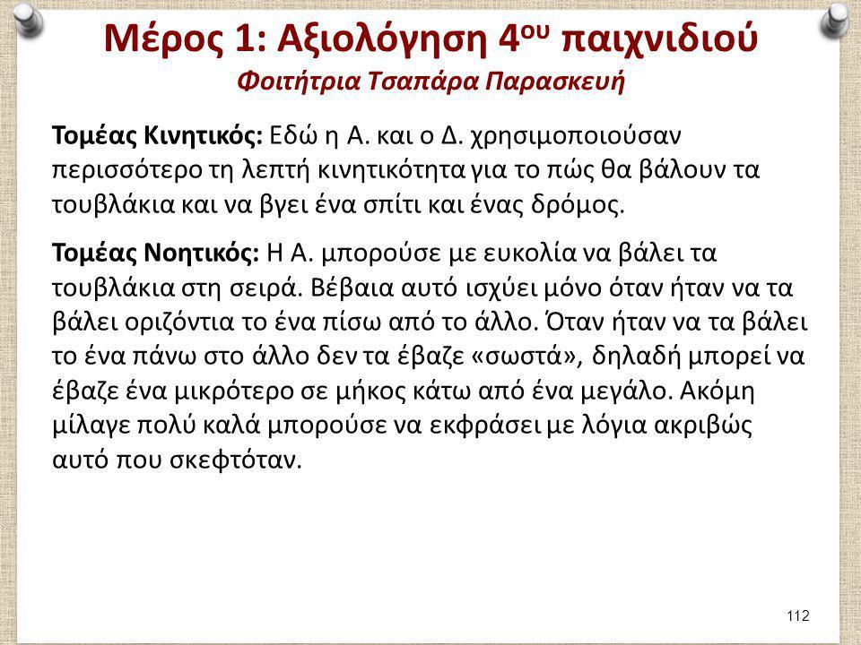 Μέρος 1: Αξιολόγηση 4 ου παιχνιδιού Φοιτήτρια Τσαπάρα Παρασκευή Τομέας Κινητικός: Εδώ η Α. και ο Δ. χρησιμοποιούσαν περισσότερο τη λεπτή κινητικότητα