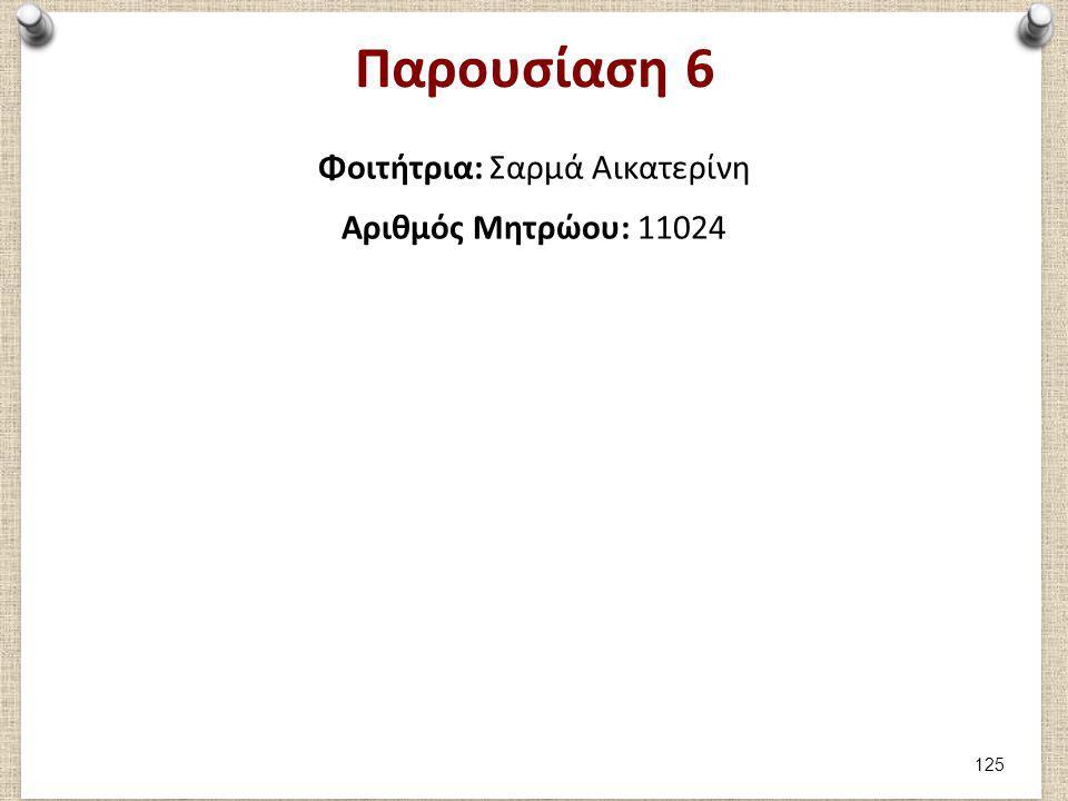 Παρουσίαση 6 Φοιτήτρια: Σαρμά Αικατερίνη Αριθμός Μητρώου: 11024 125