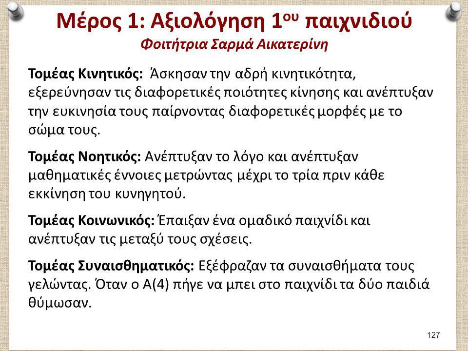 Μέρος 1: Αξιολόγηση 1 ου παιχνιδιού Φοιτήτρια Σαρμά Αικατερίνη Τομέας Κινητικός: Άσκησαν την αδρή κινητικότητα, εξερεύνησαν τις διαφορετικές ποιότητες