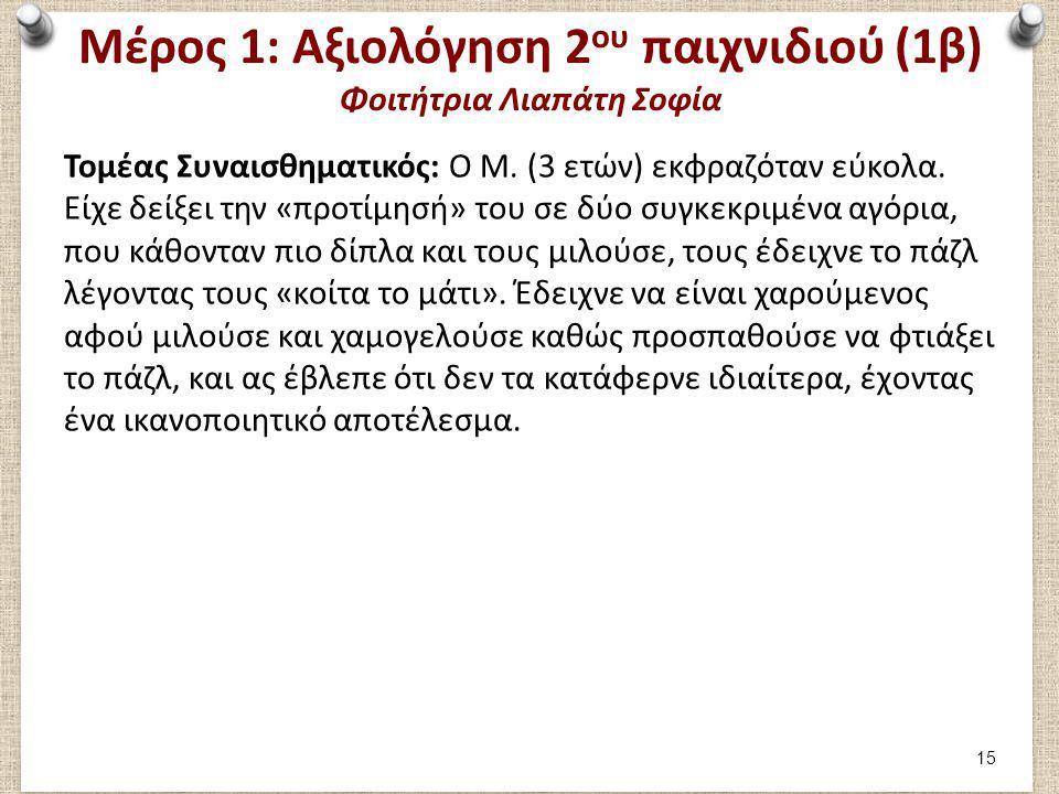 Μέρος 1: Αξιολόγηση 2 ου παιχνιδιού (1β) Φοιτήτρια Λιαπάτη Σοφία Τομέας Συναισθηματικός: Ο Μ. (3 ετών) εκφραζόταν εύκολα. Είχε δείξει την «προτίμησή»