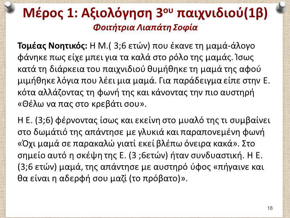 Μέρος 1: Αξιολόγηση 3 ου παιχνιδιού(1β) Φοιτήτρια Λιαπάτη Σοφία Τομέας Νοητικός: Η Μ.( 3;6 ετών) που έκανε τη μαμά-άλογο φάνηκε πως είχε μπει για τα κ