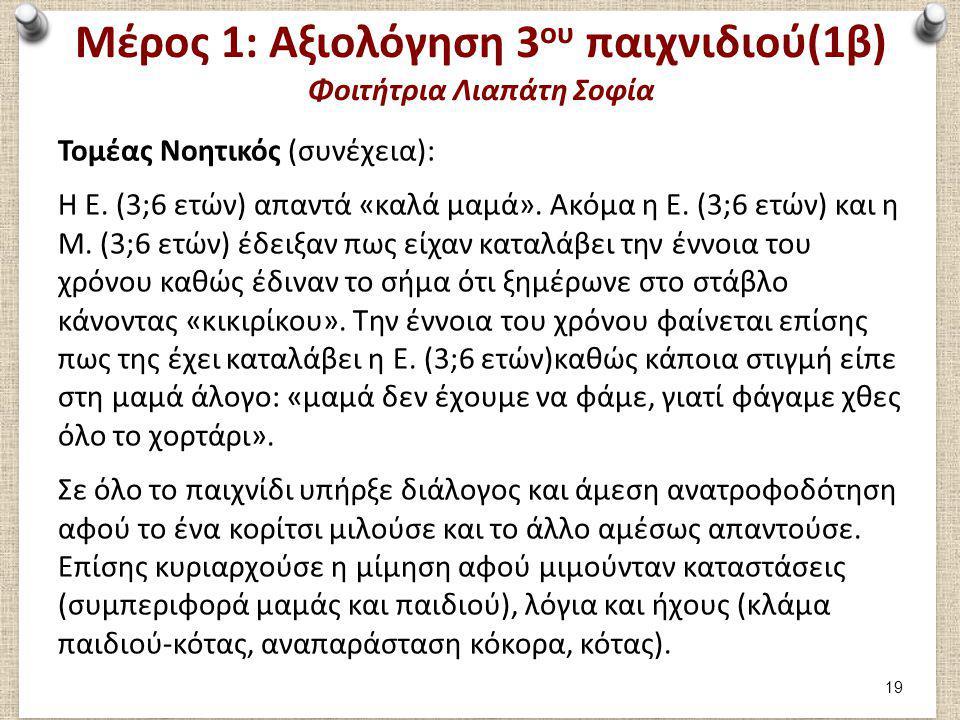 Μέρος 1: Αξιολόγηση 3 ου παιχνιδιού(1β) Φοιτήτρια Λιαπάτη Σοφία Τομέας Νοητικός (συνέχεια): Η Ε. (3;6 ετών) απαντά «καλά μαμά». Ακόμα η Ε. (3;6 ετών)
