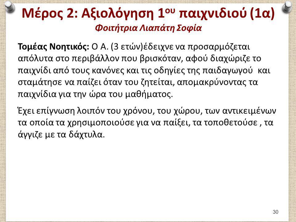 Μέρος 2: Αξιολόγηση 1 ου παιχνιδιού (1α) Φοιτήτρια Λιαπάτη Σοφία Τομέας Νοητικός: Ο Α. (3 ετών)έδειχνε να προσαρμόζεται απόλυτα στο περιβάλλον που βρι