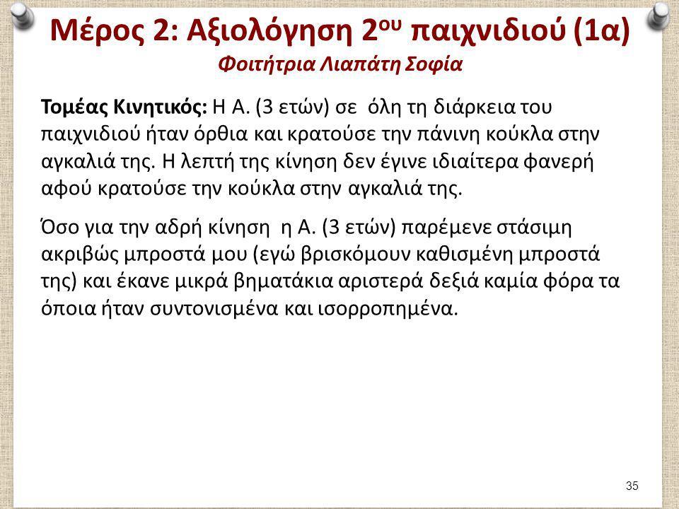 Μέρος 2: Αξιολόγηση 2 ου παιχνιδιού (1α) Φοιτήτρια Λιαπάτη Σοφία Τομέας Κινητικός: H Α. (3 ετών) σε όλη τη διάρκεια του παιχνιδιού ήταν όρθια και κρατ