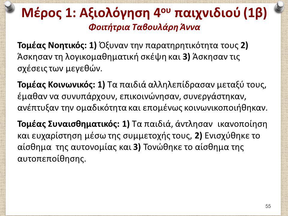 Μέρος 1: Αξιολόγηση 4 ου παιχνιδιού (1β) Φοιτήτρια Ταβουλάρη Άννα Τομέας Νοητικός: 1) Όξυναν την παρατηρητικότητα τους 2) Άσκησαν τη λογικομαθηματική