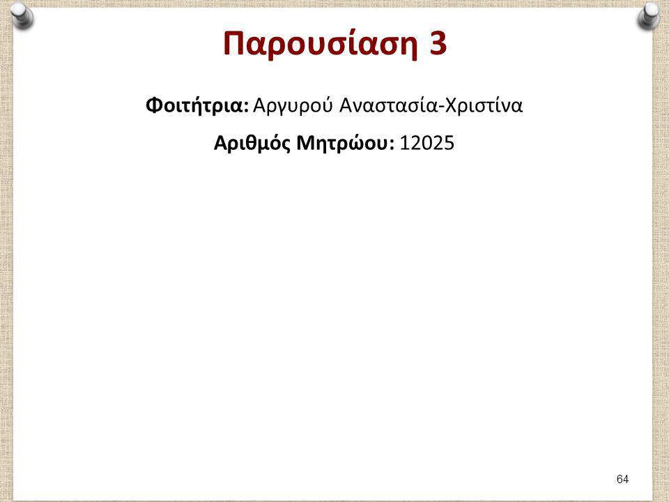 Παρουσίαση 3 Φοιτήτρια: Αργυρού Αναστασία-Χριστίνα Αριθμός Μητρώου: 12025 64