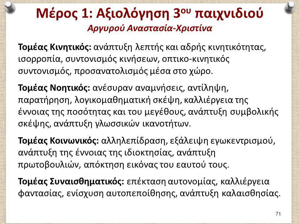 Μέρος 1: Αξιολόγηση 3 ου παιχνιδιού Αργυρού Αναστασία-Χριστίνα Τομέας Κινητικός: ανάπτυξη λεπτής και αδρής κινητικότητας, ισορροπία, συντονισμός κινήσ